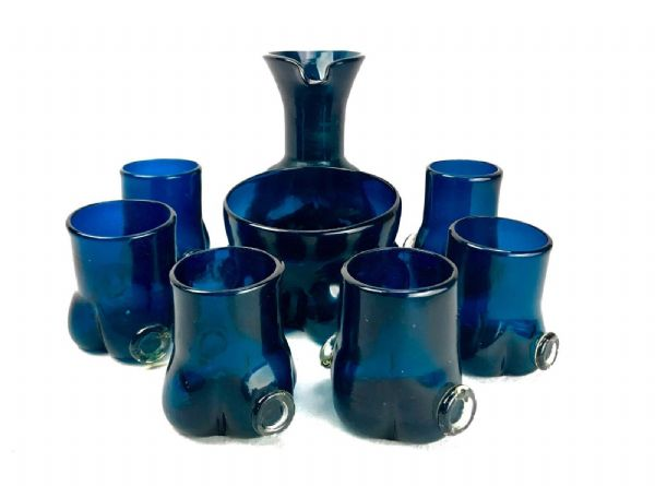 Antique Italian Art Glass Lemonade Set / Jug And Glasses / Blue Hand Blown Retro